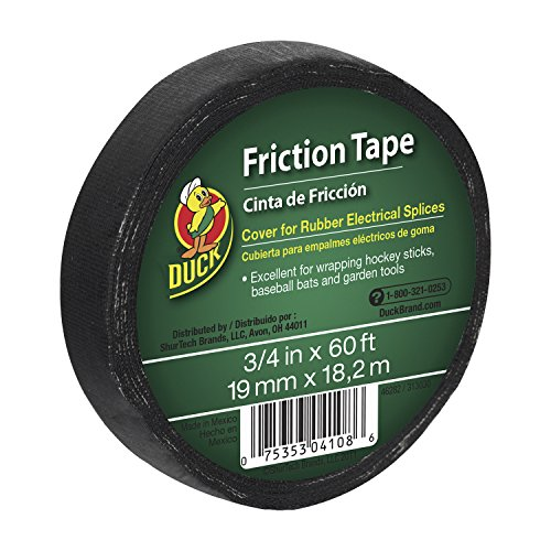 Duck Brand 393150 Friction Tape, 3/4-Inch x 60 Feet, Single Roll, Black by Duck