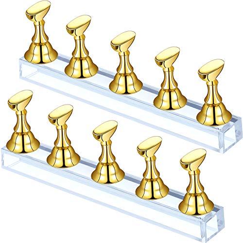 2 Sets Acryl Nagel Display Ständer Nagelspitze Übung Halter Magnetischer Nagel Übung Ständer Fingernagel DIY Nagelkunst Ständer für Falsche Nagelspitze Maniküre Werkzeug Salon (Gold)