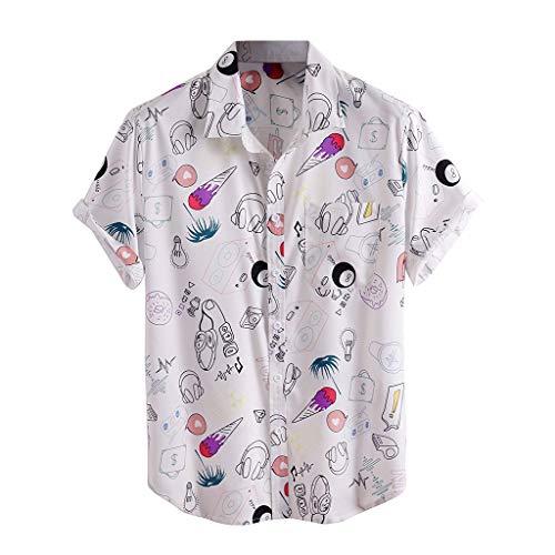 Dasongff Herren Hemd Poloshirt Sommer Kurzarm Hemd 3D Gedruckt Hawaiihemd Gestreiftes Oversize Shirt Bunte Herrenhemden Freizeithemd Regenbogen Oberhemden