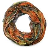 styleBREAKER Sciarpa ad anello in stile batik con motivo a piume, effetto stropicciato, leggera e setosa, 01016064, colore:Arancione