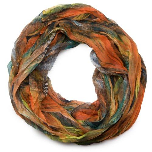 styleBREAKER Feder Muster Batik Style Loop Schlauchschal/Crash and Crinkle/seidig leicht 01016064, V4, Farbe:Orange