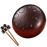 Steel Tongue Drum 8 Notes 6 Inches Handpan Percussion Instruments Hang Drum Healing Drum Musical Gifts for Drummer Beginner Kids Adults(Bronze)
