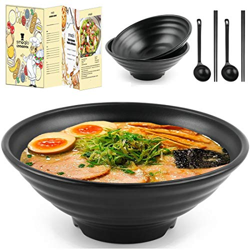 SMOQIO Ramen Bowl, 6pcs (5A Melamine Black) Ramen Bowls and Spoons Set, 37oz Noodle Bowl with Chopsticks, Spoons, Gift Box and Cooking EBook