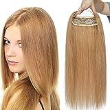 """Extensions Echthaar Haarteile Doppelt Wire 1 Tresse Dicker Haarverlängerung Haare Haarverdichtung mit unsichtbarem Draht Honigblond#27 DICK-22""""(55cm)-120g"""