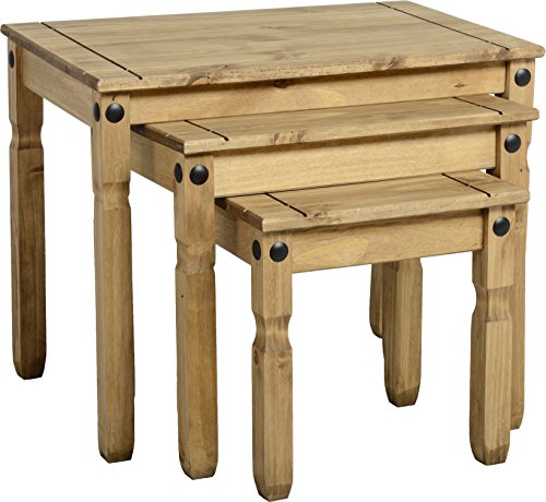 Seconique Corona Nest Of Tables, Distressed Waxed Pine, 449.95x659.95x99.95 cm