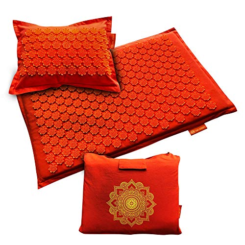 Acupressure Mat and Pillow Set  Acupuncture Massage Mat for Relieving Back Neck Pain and Headaches  Naturally Relieve Tension Stress or Anxiety  Stimulate Your Sacral Chakra  Free Tote Bag