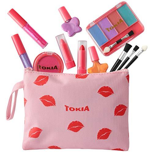 TOKIA Kids Makeup Kit for Girl, Washable Non-Toxic Little Girl Makeup Set with Cosmetic Bag