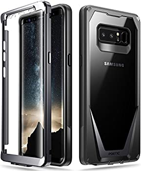 Poetic Galaxy Note 8 Case Guardian [Scratch Resistant Back] [360 Degree Protection] Full-Body Rugged Clear Hybrid Bumper Case with Built-in-Screen Protector for Samsung Galaxy Note 8 Black