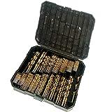 "230 Pieces Drill Bit Set - Titanium Metal Drill Bits for Steel, Wood, Plastic, Copper, Aluminum Alloy with Storage Case, 3/64""-1/2"""
