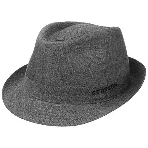 Stetson Geneva Leinenhut - Sonnenhut Damen/Herren - Stoffhut Made in Italy - Sommerhut mit UV-Schutz 40+ - Trilby aus Leinen Frühjahr/Sommer grau 59 cm