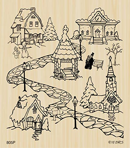All in One Christmas Village Rubber Stamp by DRS Designs Rubber Stamps