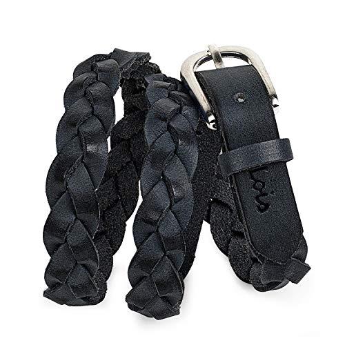 Lois - cinturón para mujer de cuero piel genuina trenzado con hebilla metálica, flexible y duradero. largo adaptable. ideal para ancho 20 mm. 501007, Color Negro