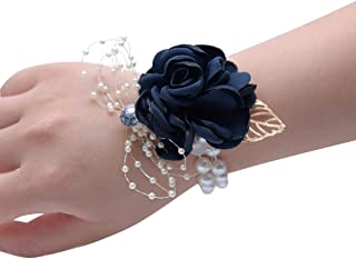 Zippersell Wedding Bride Wrist Corsage Bridesmaid Navy Wrist Flower Corsage for Wedding Prom Party Homecoming (Pack of 2)