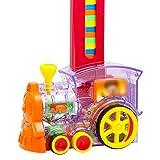 YUDIZWS Domino Train Toy Set, 80 PCS Domino Blocks Train Electric, Lights and Sounds Construction y Juguetes de apilamiento, para niñas, Regalos creativos para niños,Domino