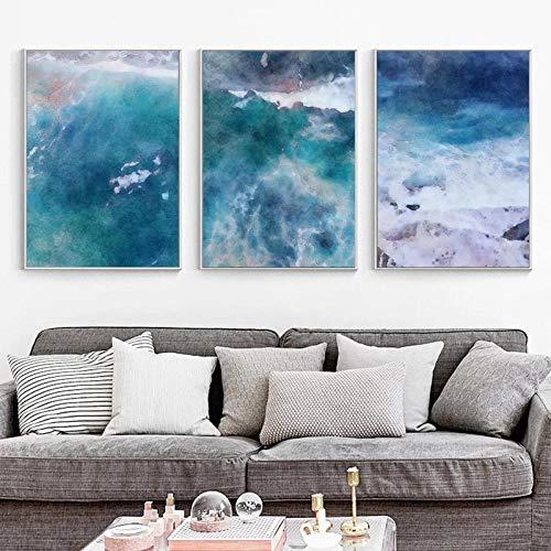 LLXXD Abstrakte Malerei Meer dekorative Malerei Blue Ocean Poster HD-Poster Druck Home Schlafzimmer Wohnzimmer Wanddekoration -50x70cmx3 (kein Rahmen)