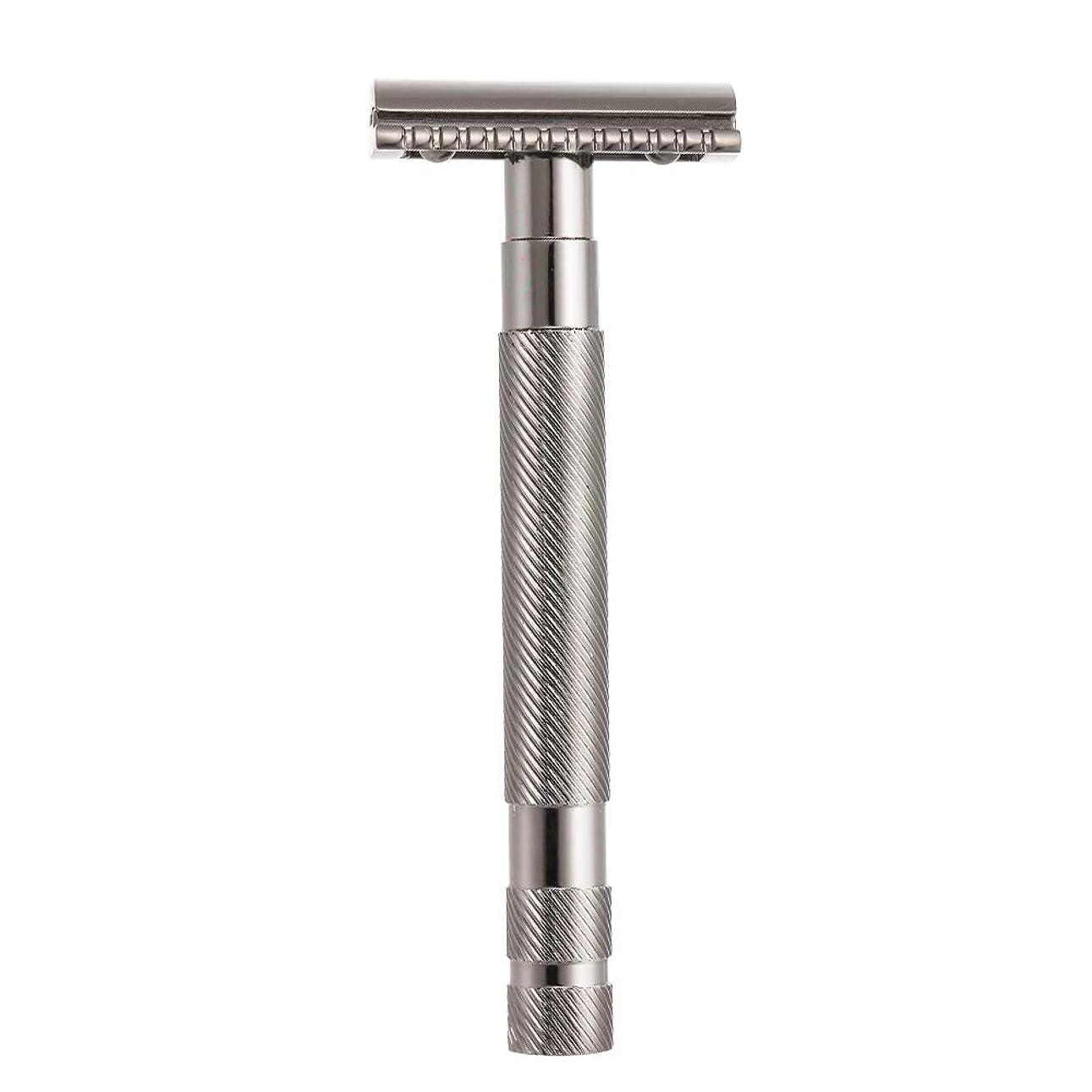 パット以内に適切にDecdeal 安全 ダブル カミソリ 髭剃り 男性 シェービングツール