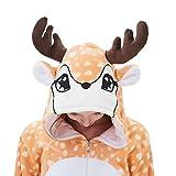 ABENCA Women Deer Onesie Pajama Reindeer Costume Adult Animal Halloween Christmas Cosplay Fawn Onepiece, M