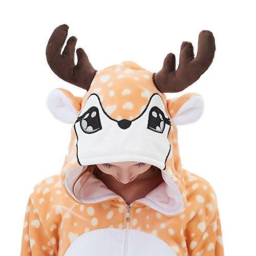 ABENCA Women Deer Onesie Pajama Reindeer Costume Adult Animal Halloween Christmas Cosplay Fawn Onepiece, S