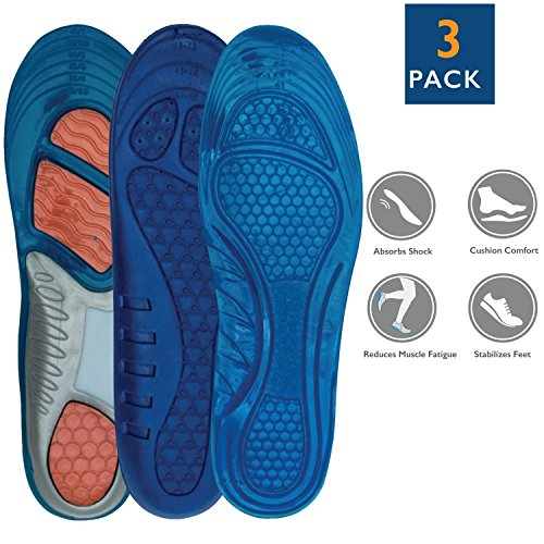 Dr. Zen Adjustable Orthotic Massaging Gel Insoles for Women with Footbed and Heel Support Pack of 3