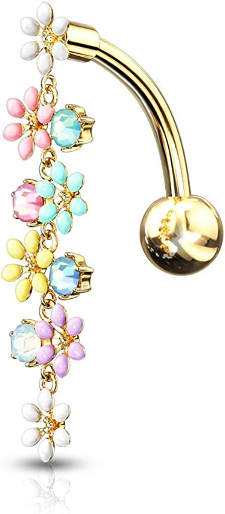 316L Surgical Steel Gold Ion Plated Belly Ring with Crystal Paved Octopus