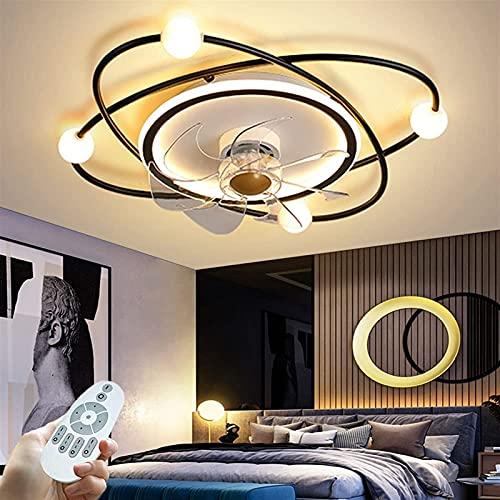 Ventilador de techo con control remoto ligero Stepless Dimmable 3 Color Cambiable 3-Velocidad Moderno 42W LED Lámpara de ventilador de techo para sala de estar Dormitorio Comedor (Color : Negro)