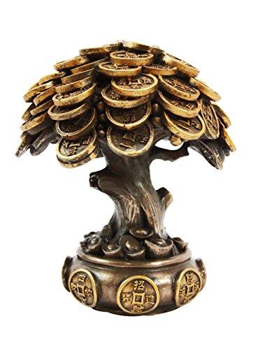 Ebros Feng Shui Gold Tree Statue Golden Money Coin Tree of Wealth And Abundance Decor Talisman Figurine