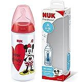 NUK Disney First Choice+ - Biberón de bebé (6 a 18 meses), control de temperatura, ventilación anticólicos, 300 ml, sin BPA, tetina de silicona, Minnie Mouse (rojo), 1 unidad
