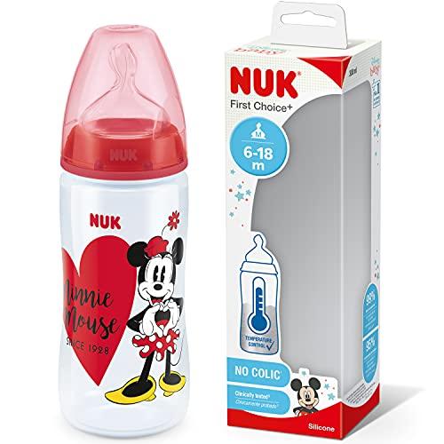 NUK First Choice+ Disney - Biberón para bebés de 6 a 18 meses, indicador de control de temperatura, botella de 300 ml con válvula anticólicos, sin BPA, tetina de silicona, Minnie Mouse (rojo)