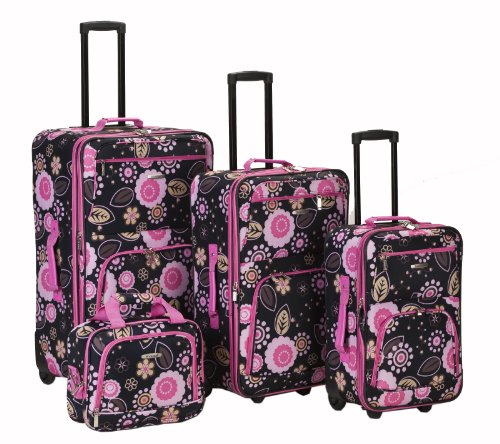 Rockland Impulse 4-Piece Softside Upright Luggage Set, Pucci, (14/19/24/28)