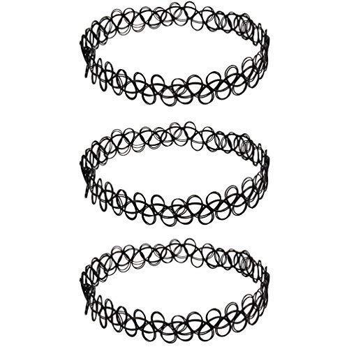 3 x Henna Tattoo Halskette schwarz + kostenlose Lieferung | Choker stretch Schmuck Kette | Henna Vintage Kette