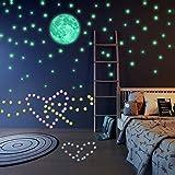 Luminoso pegatinas de pared estrellas y luna perfectas para decoraci/ón de la sala habitaci/ón del dormitorio de ni/ños o el regalo de cumplea/ños 206 Pzas DIY Fluorescente calcoman/ías de pared