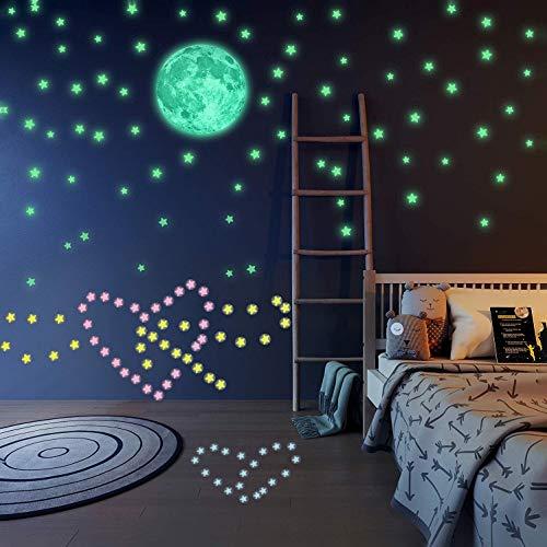 Luminoso Pegatinas de Pared Luna y 3D Estrellas, Fluorescente Decoración de Pared para Dormitorio de Niños, DIY Decoración de la Habitación Para Chico Niña Bebé, Casa Interior Mural, 201 Pzas