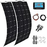 TYNB Solar Panel 2 X 300W Flexible Solar Panel 600W Monoctrystalline Solar System Kit Photovoltaic Module 40A Charge Controller Extension Cable for Home,RV,Caravan,Boat and Other Battery…