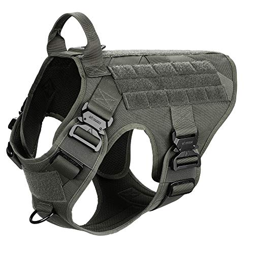 "ICEFANG Tactical Dog Harness with 4X Metal Buckle,Dog MOLLE Vest with Handle,No Pulling Front Clip,Hook and Loop Panel for Dog Custom Patch (L (28""-35"" Girth),Ranger Green)"