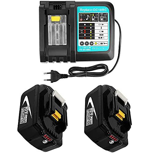 Ersatz Ladegerät mit BL1850 2 Akku 18V 5Ah Baustellenradio DMR 108 DMR110 DMR107 DMR 112 DMR104 DMR106 18 Volt Radio Ersatzakku für Makita
