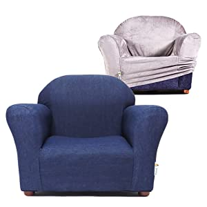 Keet Roundy Kid's Chair + Cover Combo Set, Denim/Charcoal