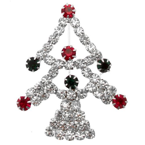 Pewterhooter-Acosta ShalinIndia-Spilla a forma di albero di Natale con strass, tonalità argento, in confezione regalo