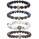 Hongyantech 4 Stuck Lavastein Armband Perlen Armbänder für Herren und Damen Natur Stein Armbänder