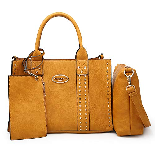 Women Vegan Leather Handbags Fashion Satchel Bags Shoulder Purses Top Handle Work Bags 3pcs Set Tan