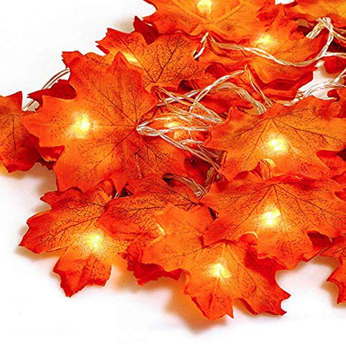 Ainkedin Thanksgiving Decorations, Lighted Fall Garland, Maple Leaf String Lights 20LED 9.8ft, Autumn Garland, for Thanksgiving Decor Halloween Decorations Indoor Fall Porch Decor