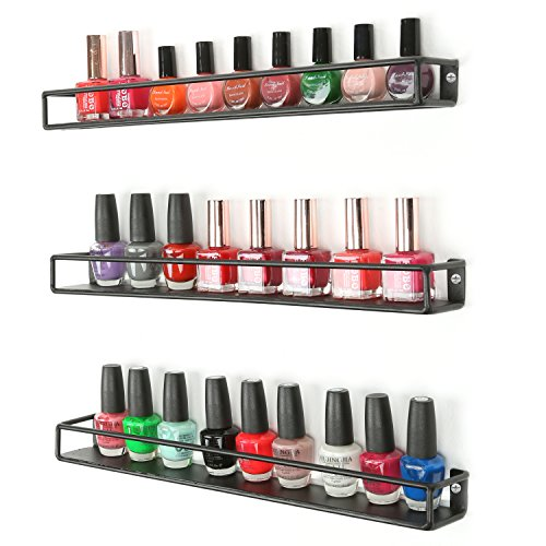 Set of 3 Black Metal Wall-Mounted Nail Polish & Essential...