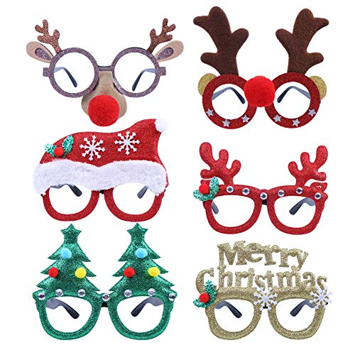 CCINEE 6pcs Merry Christmas Glasses Frames Costume Eyeglasses without Lenses for Kids Christmas Party Favor Black Friday Supplies