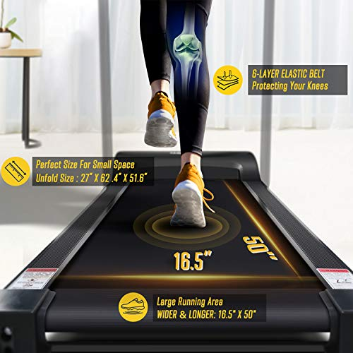 OMA Treadmills for Home, Max 2.25 HP Folding Incline Treadmills for Running and Walking Jogging Exercise with 36 Preset Programs, Tracking Pulse, Calories - Black