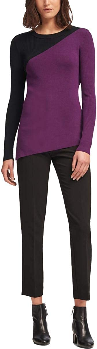 DKNY Womens Asymmetrical Pullover Sweater, Purple, X-Large