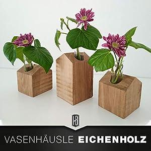 3er Set Holzhaus aus Eiche massiv mit Korkboden und Glasvasen