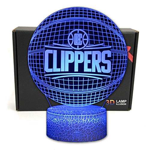 DGLighting Basketball Shape 3D Optical Illusion 7 Colors LED Night Light Table Lamp with USB Power Cable for Clippers Fans Gift