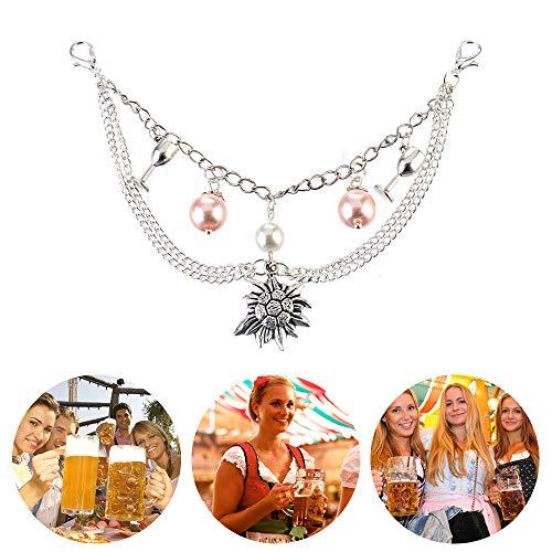 MJARTORIA Damen Oktoberfest Schmuck Set Edelweiß Kette Armband Ohrringe Trachtenkette Charivari mit Perlen 4 Stück - 3