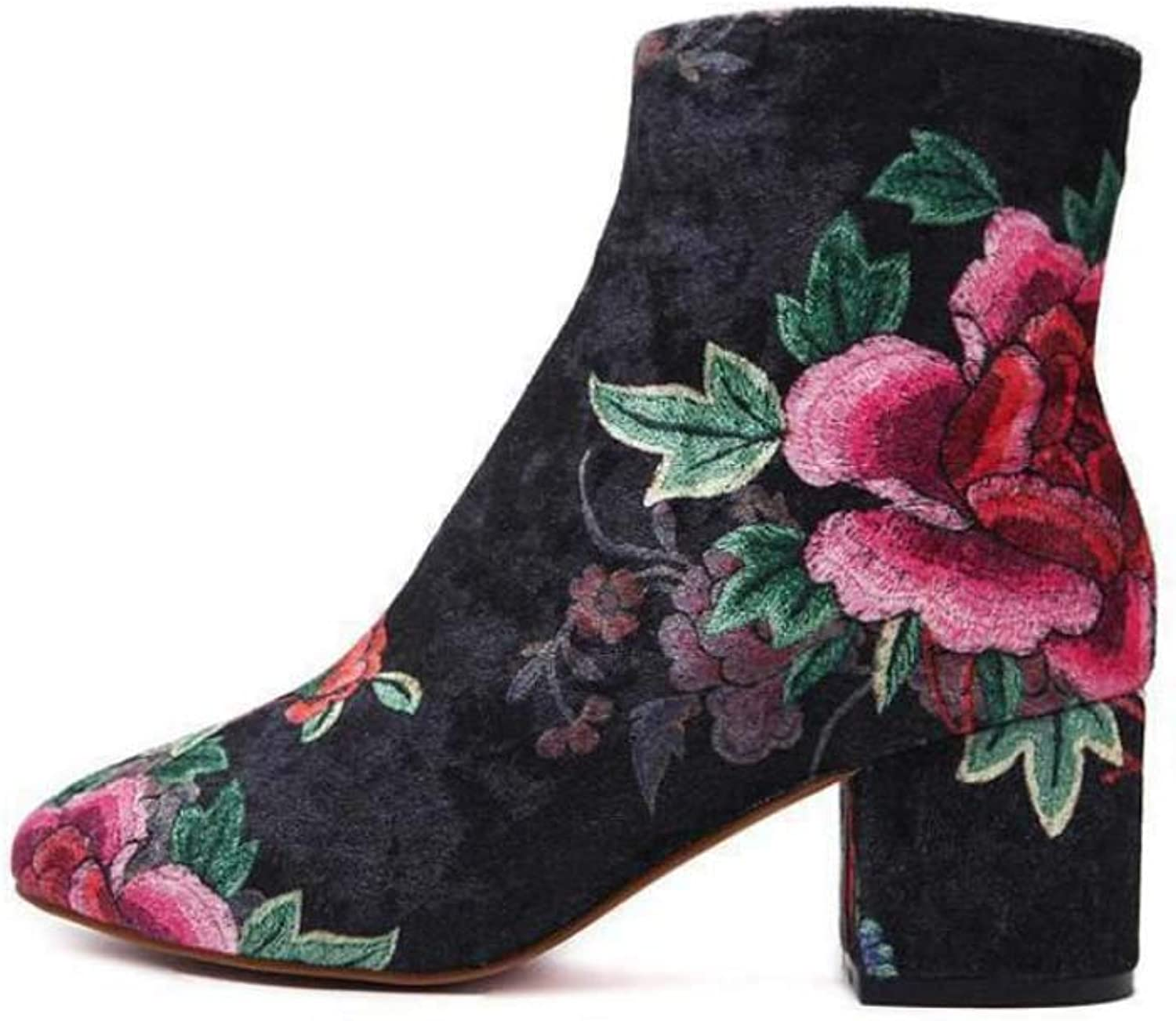 Embroidered pinks Ankle Boots Party Dress Bootie Women Elegant Round Toe 6cm Chunkly Heel OL Court shoes EU Size 35-40