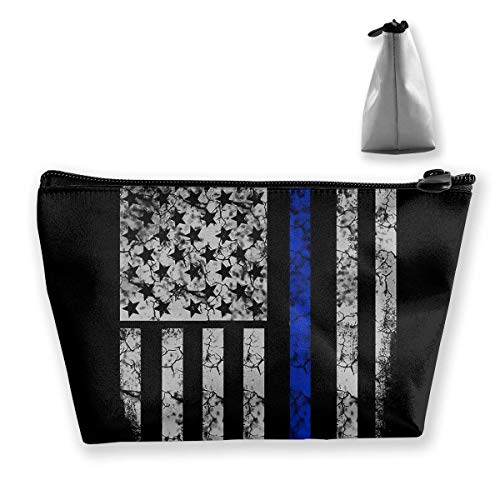 Thin Blue Line American Flag Waterproof Trapezoidal Bag Cosmetic Bags Makeup Bag Large Travel Toiletry Pouch Portable Storage Pencil Holders