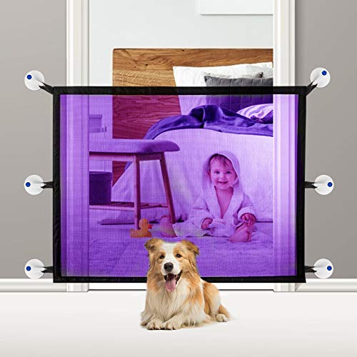 Magic Pet Gate, CAMTOA Indoor Outdoor Gate, Portable Folding Mesh Dog Gate, Extra Wide Safety Gate and Pet Gate for Stairs, Doors, Extends up to 47'' X 27.5''